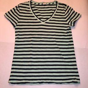 J Crew mint and navy striped cotton v neck shirt S